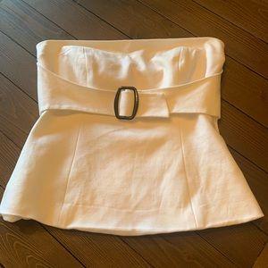 Trina Turk strapless creme top w buckle detail
